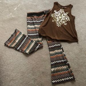 Girls top and bell bottom pants outfit